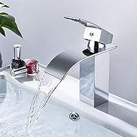Grifo Lavabo Cascada, Dalmo DBWF01FA Grifo Baño de Latón con Agua Fría y Caliente Disponible, Mezclador Monomando Lavabo…
