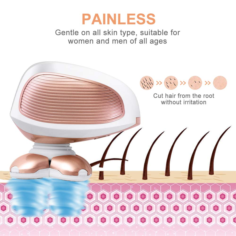 Women's Painless Hair Remover, Waterproof Electric Shaver Bikini Trimmer (Rose Gold)