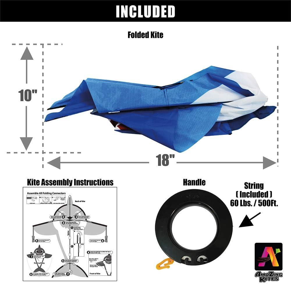 AmaZing Kites 3D Nylon Dragon Kite with 80 Wingspan 6 ft 8 in