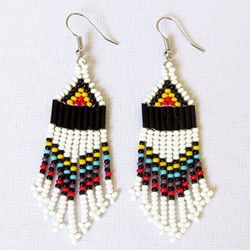 African Zulu beaded earrings - Chandelier NEW DESIGN - White and multicolour - Gift for her