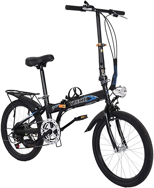 Tengma City Folding Bike Leisure 20 Inch 7 Speed Bicycle Mini Compact Bike Quickly Fold Travel Lightweight Bike for Students Office Workers Urban Commuter US