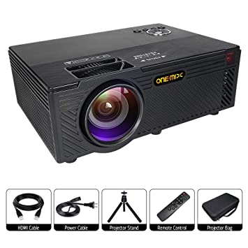 Home Video Projectors, ONE-MIX 2400 lumens Led Mini Portable Projector 1080P HD HDMI VGA AV USB Support, Home Theater Movie Projector for TV, ...
