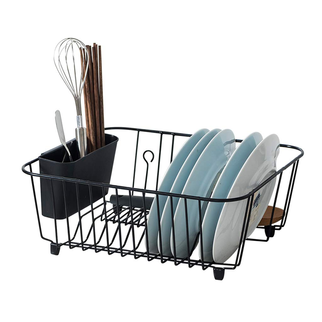 MSF dish rack Black Dish Drying Rack in Sink, Dish Drainer with Removable Utensil Holder, over The Sink or on Counter, Rust Proof, Large Capacity, 15×12.5×6 inch