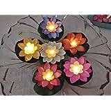 Vibgyor Products Floating Candles & Lotus Flowers Unbreakable Long Lasting Usable Decoration Floating Flower Set of 3