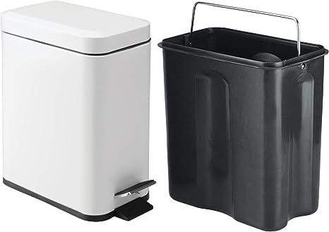 Cestino rifiuti con coperchio ideale per cucina e bagno iDesign Cestino spazzatura bianco Piccolo secchio spazzatura in plastica e metallo