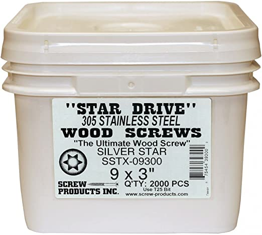 Screw Products 9 x 2 Silver Star 305 Stainless Steel Screws 124 count