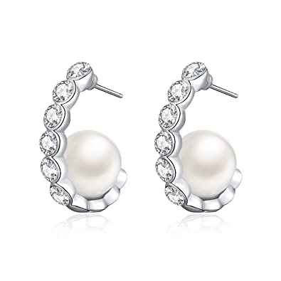 cd7f5fae7 Pearl Earrings Freshwater Pearl Studs Earring with Crystal from Austria,  Elegant Jewellery Gifts for Women