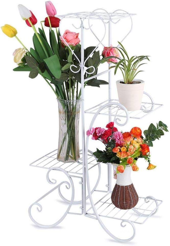 Plant Stand,4 Tier Decorative Metal Flower Plant Stand Rack Shelves Garden Wooden Flower Pot Display Shelf for Indoor Outdoor Patio,33.1/×18.9/×9.8inch Black