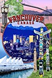 Vancouver, BC - Montage Scenes (9x12 Art Print, Wall Decor Travel Poster)