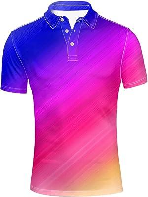 HUGS IDEA Fashion Men's Golf Polos Shirt Bright Color Short Sleeve