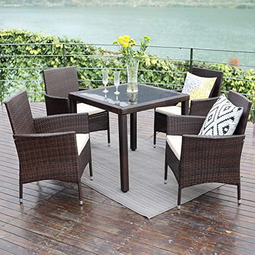 5PCS Patio Dining Table Set,Wisteria Lane Outdoor Conversation Set Glass Table with Cushioned Wicker Chairs Garden Lawn Bar Furniture,Grey (Garden Stool Galvanized)