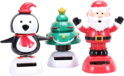 Solar Operated Bobbling Dancing Toy Car Decorative Ornament Christmas Gift