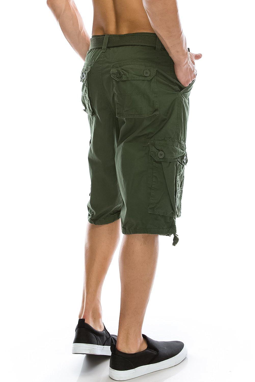 Big Size Upto 58 Mens Hipster Hip Hop Belted Premium Washed Cargo Shorts