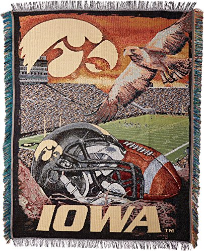 The Northwest Company Officially Licensed NCAA Iowa Hawkeyes Home Field Advantage Woven Tapestry Throw Blanket, 48