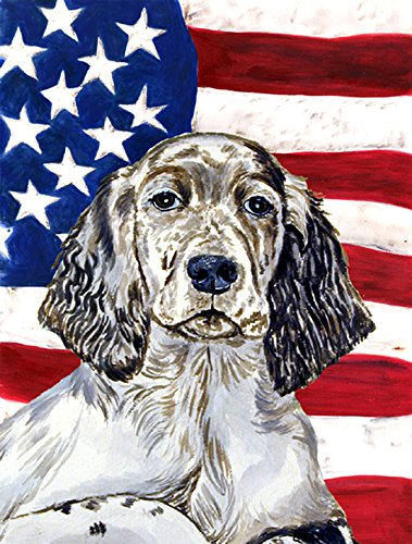 Caroline's Treasures LH9022GF USA American Flag English Setter Flag, Small, Multicolor
