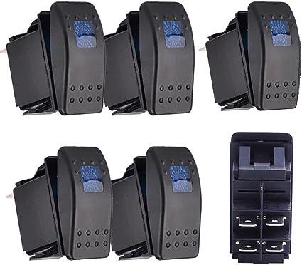 Qiorange 5x Kfz Auto Offroad Kippschalter Druckschalter Schalter Wippschalter Wasserdicht 12v 20a Blau Led Licht 4pin An Aus Auto