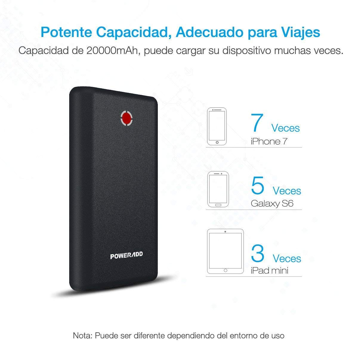 [Versión Mejorada] Poweradd Pilot X7 20000mAh Cargador Móvil Portátil Batería Externa Power Bank para iPhone iPad(Cable de Apple no Incluido) Dispositivos de Samsung y Más Reciente iPhone7 Color-Negro y Rojo