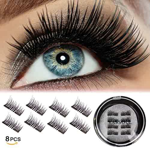 VASSOUL Dual Magnetic Eyelashes-0.2mm Ultra Thin Magnet-Lightweight & Easy to Wear-Best 3D Reusable Eyelashes Extensions (8pcs)