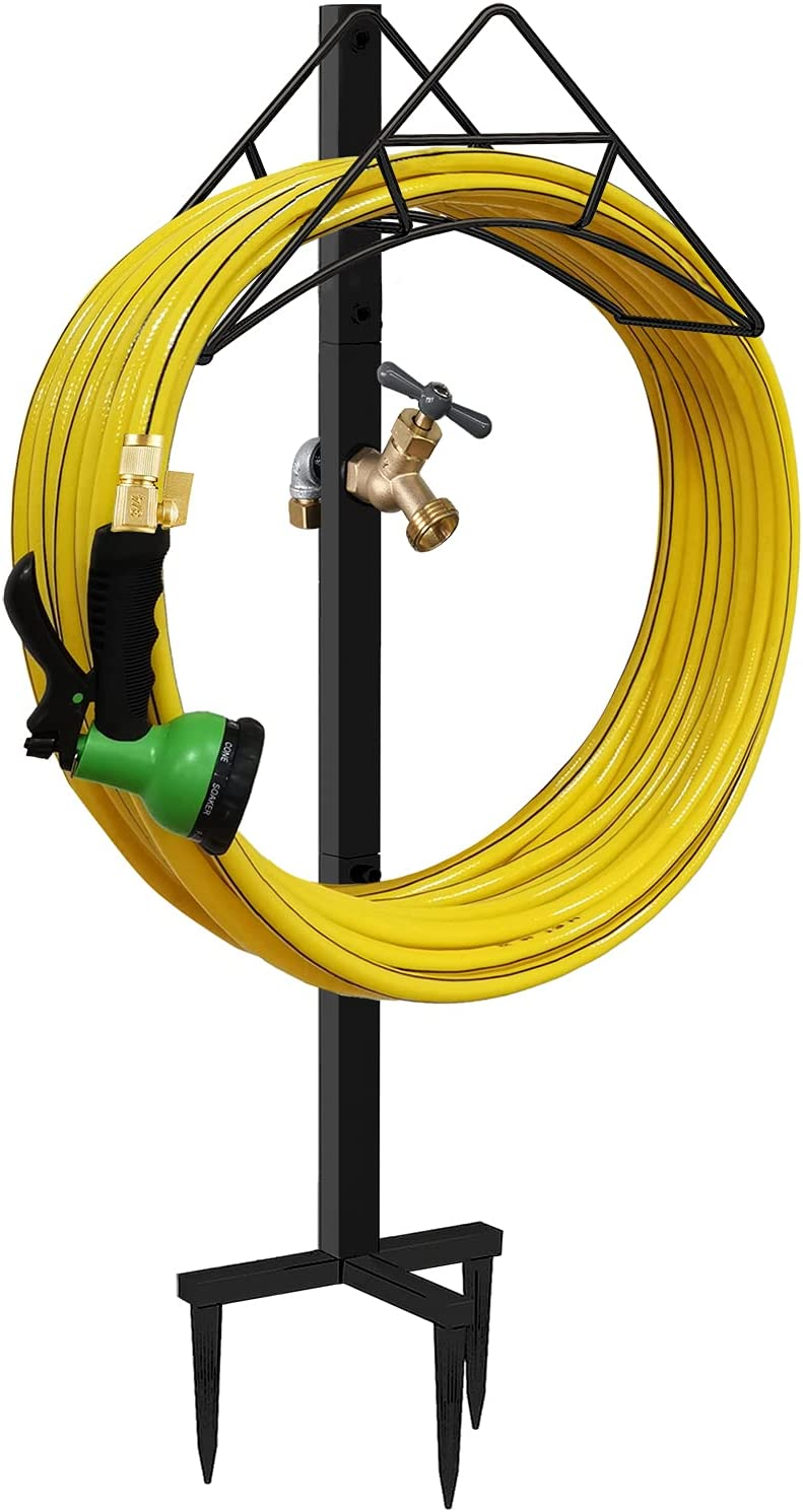Artigarden Garden Hose Holder Stake with Brass Faucet - Free Standing Metal Water Pipe Stand Heavy Duty Storage Hanger Organizer for Outdoor Lawn & Yard