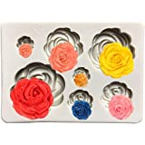 Roses Cake Fondant Mold,Roses Flower Siliconaft,Cupcake Topper,Polymer Clay,Candy Mold for Cake Decoration,Chocolate Mold, Su