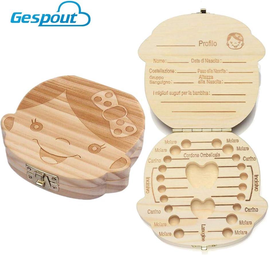 Gespout Beb/é Dientes Caja de Guardar Resistente de Madera Hecho a Mano Souvenir Lovely Dientes de Almacenamiento Organizador 12.5*11.5*3CM Girls