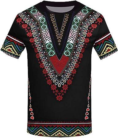 RETUROM -Camisetas Camiseta de Hombres, Impresa Africana para Hombre Camiseta de Manga Corta Top Blusa: Amazon.es: Ropa y accesorios