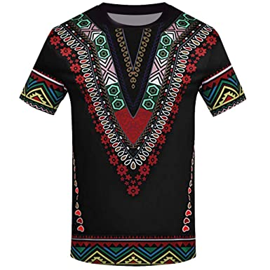 Overdose Moda Masculina Impresa Africana Camiseta Manga Corta ...
