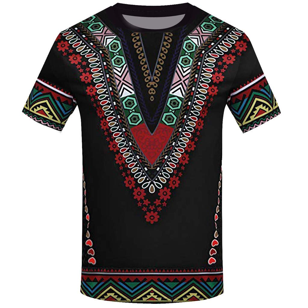 iZHH Men's T Shirt Fashion African Printed T Shirt Short Sleeve Casual Shirt Top Blouse Black