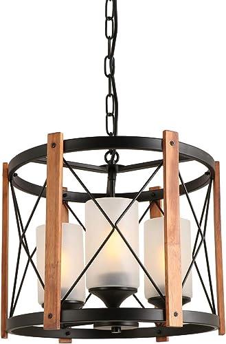 Giluta Wood Chandelier Round Wood Metal Frame 3 Lights Kitchen Island Pendant Lighting Fixture Farmhouse Hanging Ceiling Light