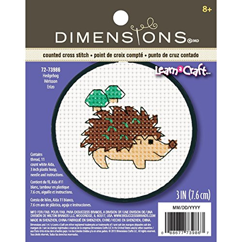 Dimensions KL1247A 1890 25 55 BKL Crafts Kids Learn a Craft Counted Cross Stitch, Hedgehog]()
