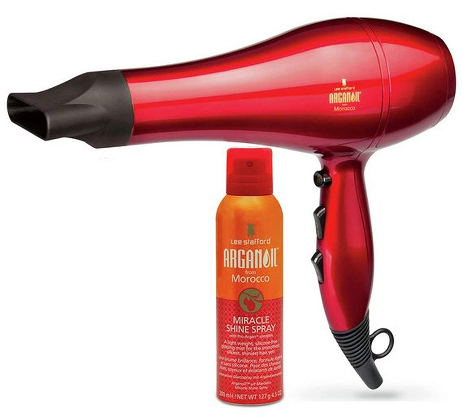 Lee Stafford Argan Oil Hair Dryer/Blow Dryer 2200W with Shine Spray - Professional AC Ionic Hairdryer - Blow Dry Faster & Nourish: Salon Quality & Moroccan Oil Infused For Silky Smooth Hair - 3m Cord