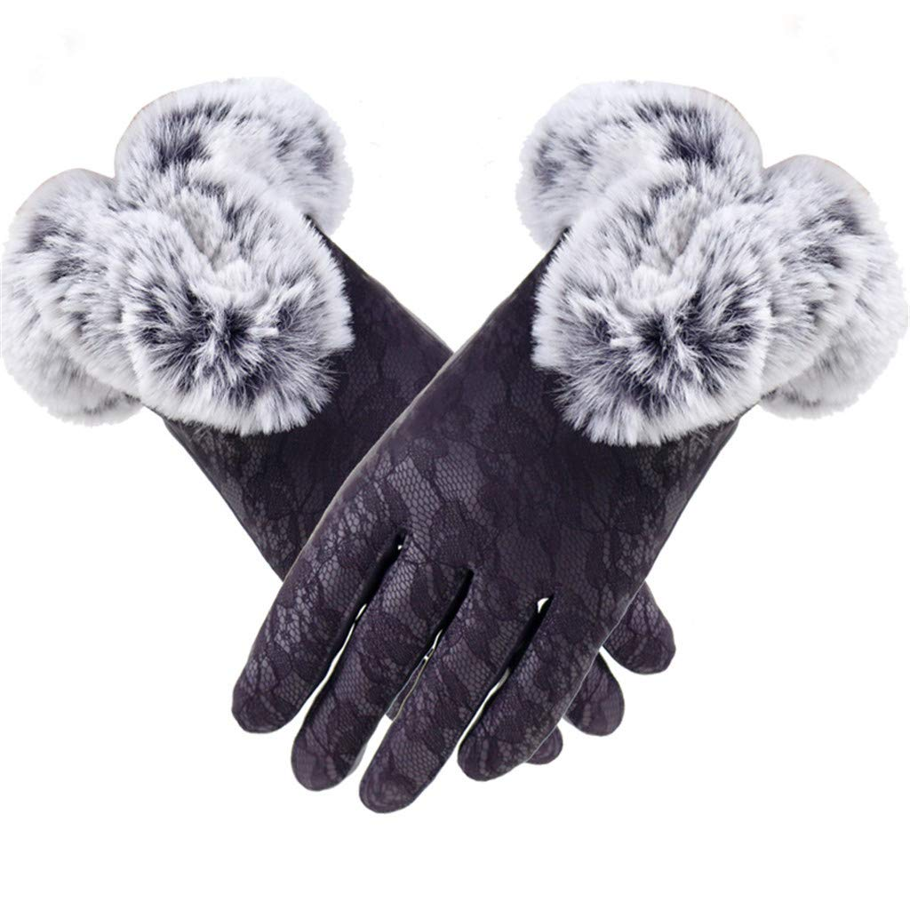 Womens Touch Screen Gloves Winter Warm Velvet Lace Using Phone For Cycling Running Gym Gloves