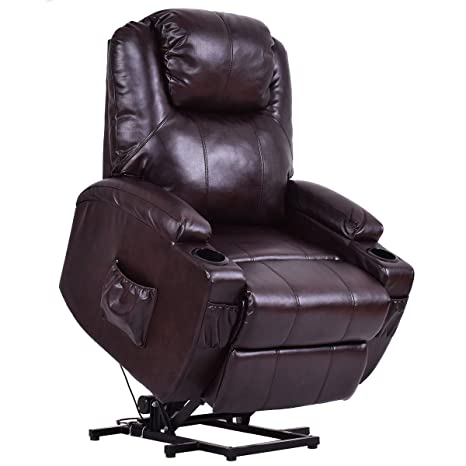 Awesome Giantex Electric Power Lift Recliner Chair For Elderly Padded Seat With Remote Control For Gentle Motor Cup Holder Living Room Chair Brown Beatyapartments Chair Design Images Beatyapartmentscom
