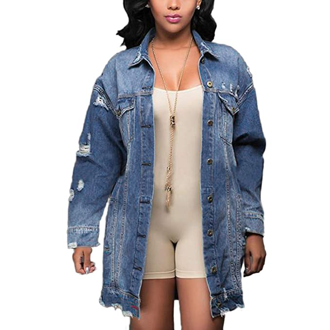 29aa28564ed FUNOC Womens Longline Denim Jacket Ladies Distressed Ripped Oversized Biker  Coat  Amazon.ca  Clothing   Accessories
