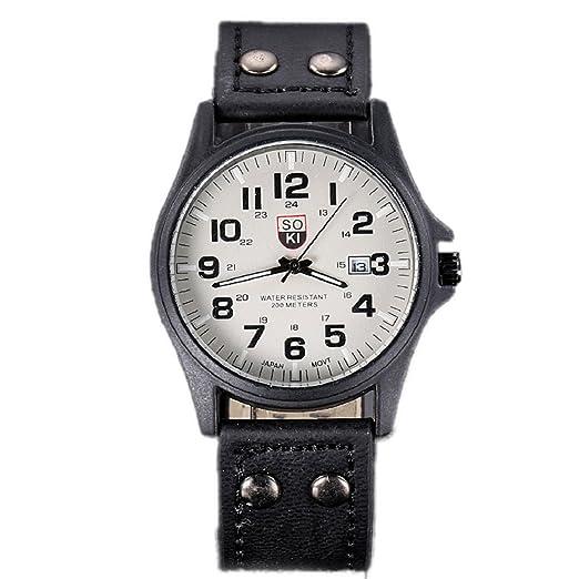 Culater® Deporte Correa De Reloj De Cuarzo Del EjéRcito Fecha Cuero Impermeable De Los Hombres CláSicos De éPoca Negro: Culater: Amazon.es: Relojes