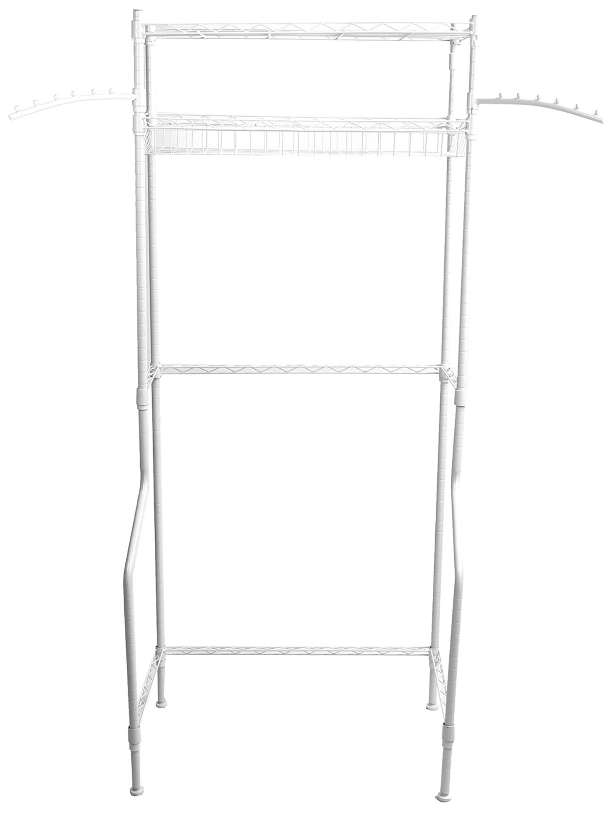 Mind Reader Washing Machine Shelf, White - MULTIPLE USE - With 2 Shelves, this storage rack makes it possible to load a variety of items. If using for over your toilet, store your toiletries, toilet paper, towels, and other bathroom accessories. If using for your laundry room, place over your washing maching and store your laundry detergent, tide pods, fabric softeners and more laundry accessories STABILITY & DURABILITY - Metal structure design makes sure this storage shelf is strong enough to bear an ample amount of items, while keeping them safe and stable. Your laundry supplies will be held safe with this laundry rack HIGH QUALITY - Made of metal with a classic white finish. This durable metal shelf will last for years to come - laundry-room, entryway-laundry-room, drying-racks - 61rqq7DZreL -