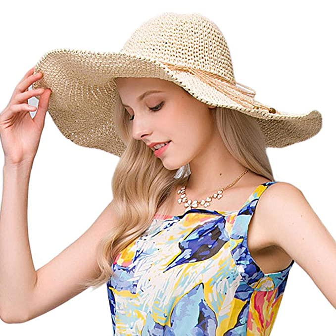 7001ee91 Straw Hat Large Wide Brim Foldable Summer Fedora Floppy Sun Hat for Women UV -Protective