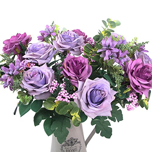 AmyHomie Artificial flowers, European artificial roses, silk rose for decorating, silk flower for wedding, a bunch/pack (Purple)