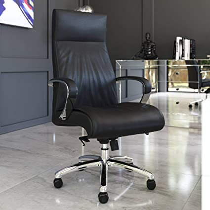 Amazon Com Zuri Furniture Modern Forbes Genuine Leather Aluminum Base High Back Executive Chair Black Furniture Decor