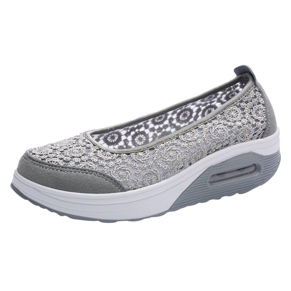 Yiiquanan Damen Atmungsaktiv Netz Spitze Plateau Freizeitschuhe Sportschuhe Keilabsatz Air Cushion Loafers Walkingschuhe  37 EU|Grau