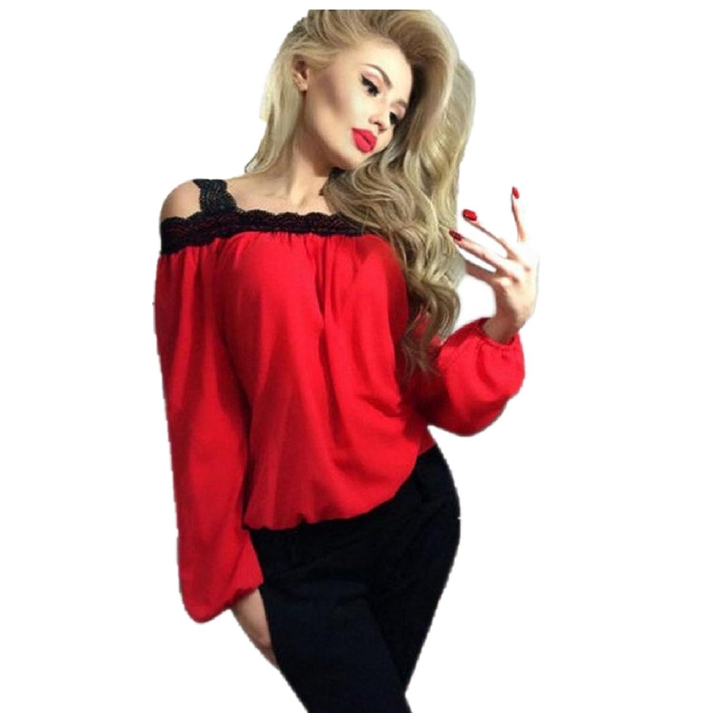 FEITONG Women Sexy Off Shoulder Long Sleeve Shirt Lace Chiffon ...