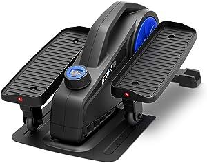 SereneLife Elliptical Under Desk Exercise Equipment - Compact Ergonomic Seated Under Desk Exercise Elliptical Machine Mini Exerciser w/ 8 Resistance Level, LCD Monitor - Resistance Band SLEPL9