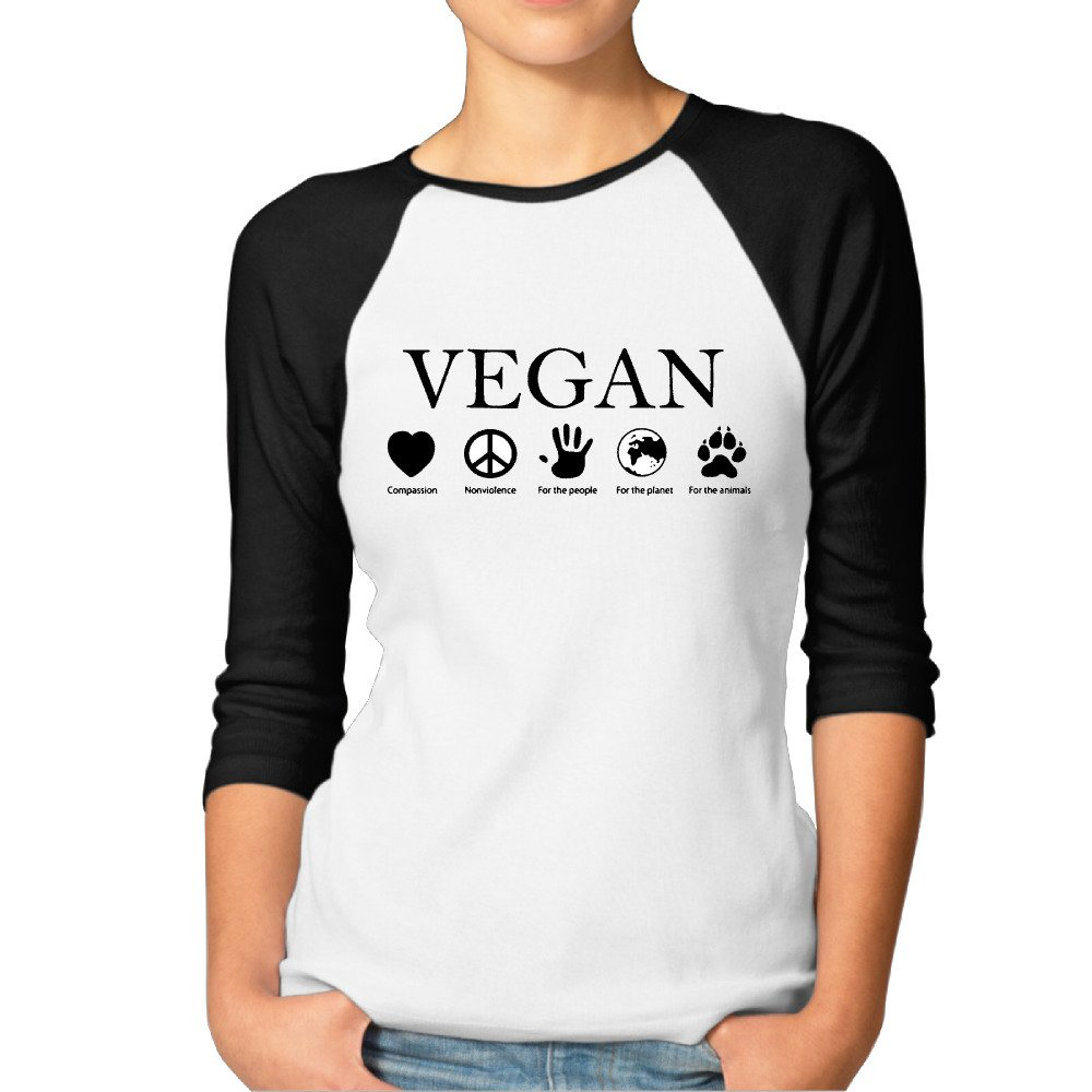 ANIMAL RIGHTS Vegan Vegetarian Women Vintage 3/4 Sleeve Raglan Tee Shirts