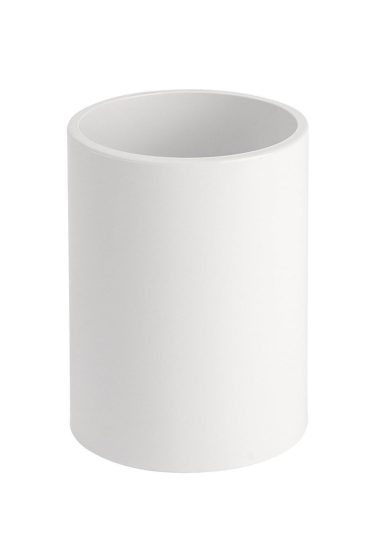 Wenko 22551100 Inca Bicchiere Porta-spazzolini in Ceramica 8 x 8 x 10 cm Colore: Bianco//Blu Navy
