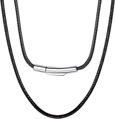 Leather Band 1 M Leather Necklace Black Open Clasp Men/'s Women/'s Brown 100 CM