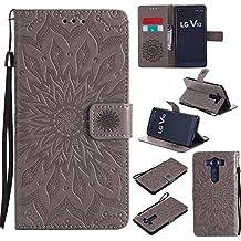 V10 Case, V10 Cover, Dfly-US Premium Soft PU Leather Embossed Mandala Design with Kickstand Function Card Slot Holder Slim Flip Protective Wallet Cover for LG V10, Grey