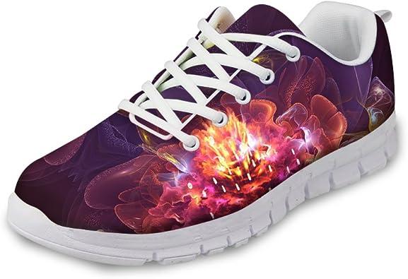 AXGM - Zapatillas de Deporte para Mujer, Zapatillas de Correr, Zapatillas de Calle, Malla de Aire, Color Rojo y Lila, con Estampado de Flores, Transpirables: Amazon.es: Zapatos y complementos