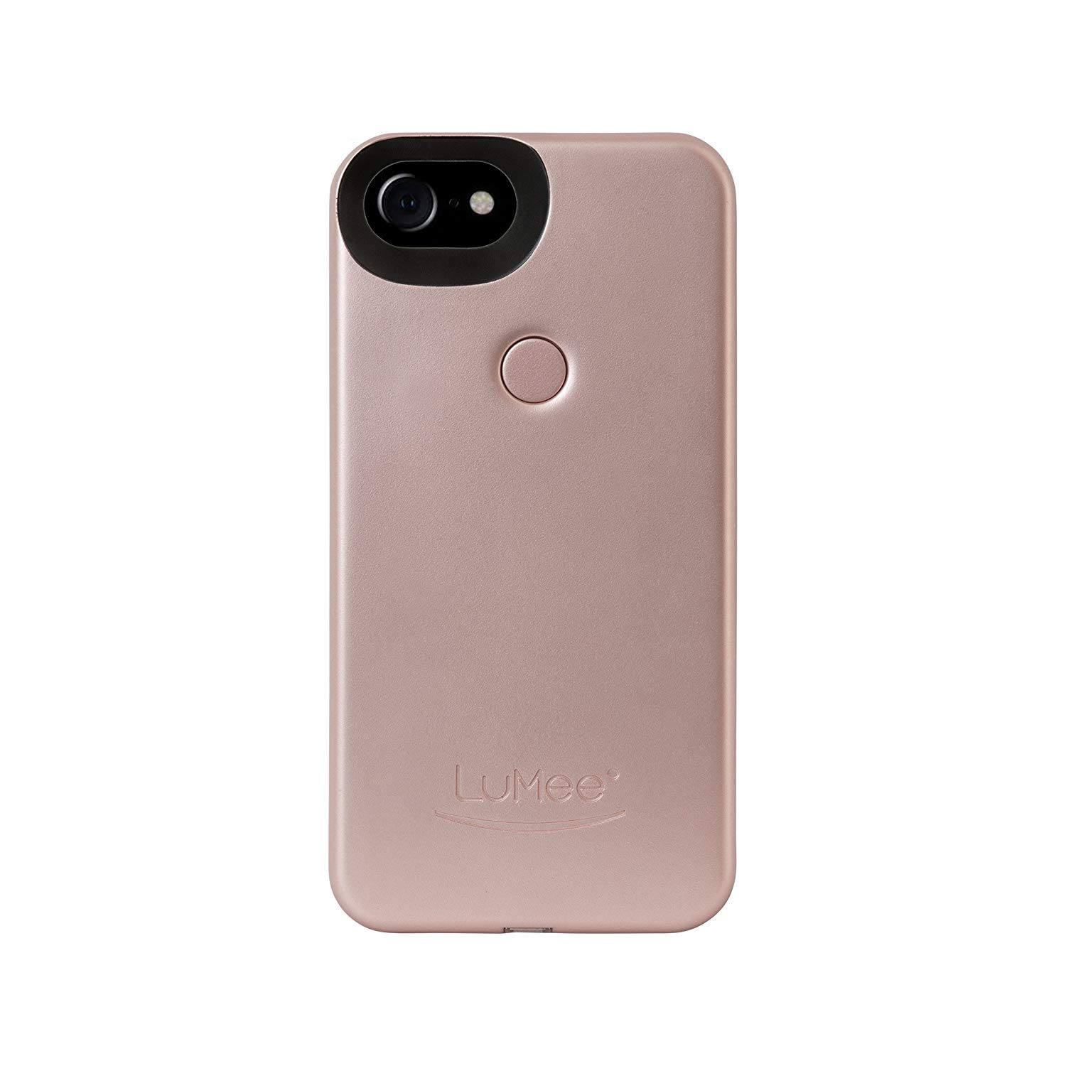 LuMee Two Selfie Phone Case, Rose Matte | LED Lighting, Variable Dimmer | Shock Absorption, Bumper Case | iPhone 8 / iPhone 7 / iPhone 6s / iPhone 6