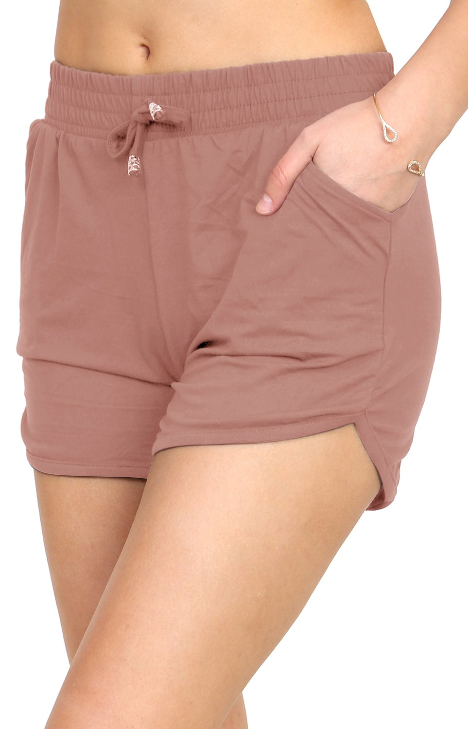 Printed Brushed Casual Summer Shorts (Rose, Medium/Large)
