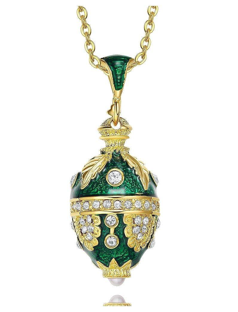 'Anhänger Ei Stil Fabergé grün 'Flower Vines von mit Kristallen Swarovski Elements und seine Kette Neid Schmück